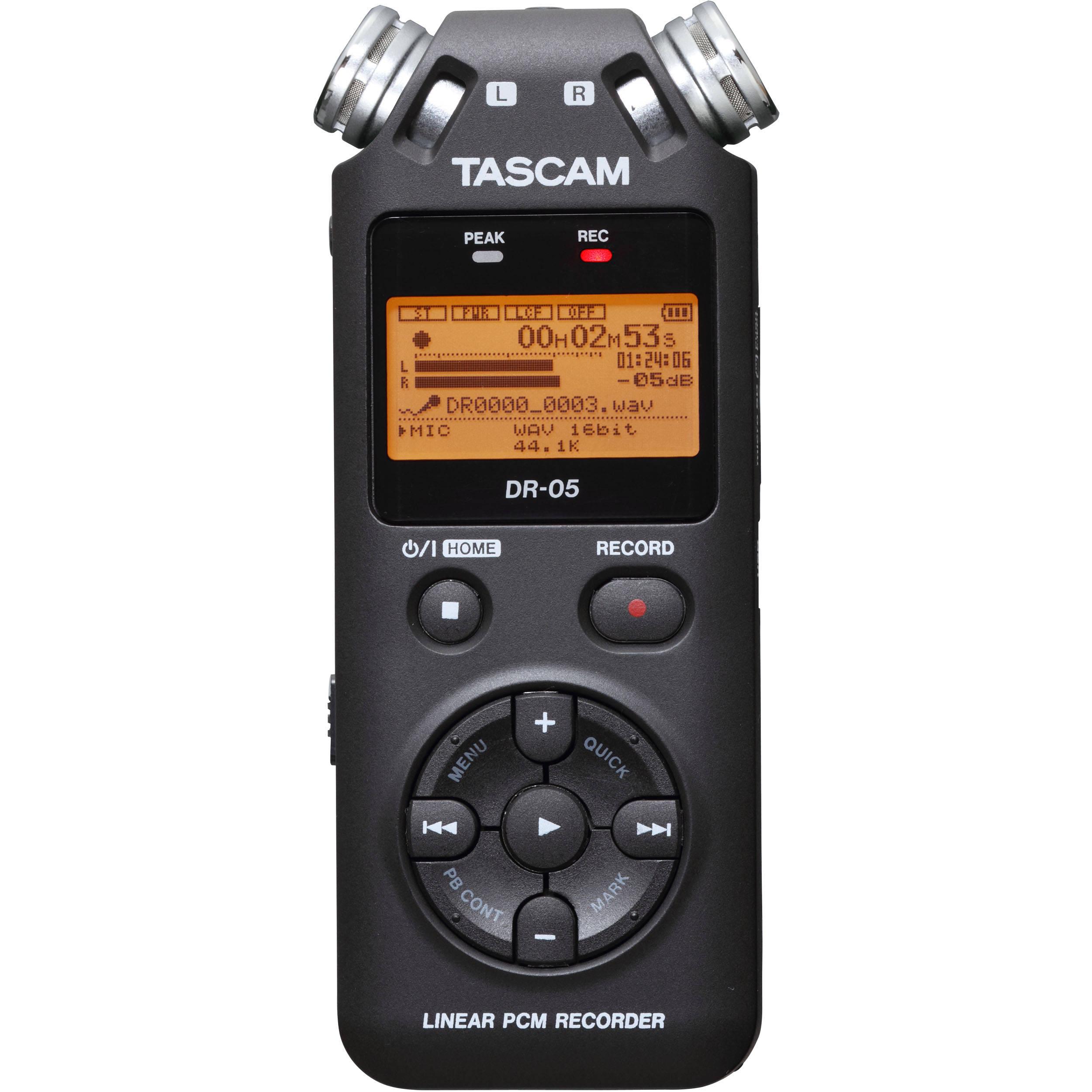 tascam dr 05 portable handheld digital audio recorder dr 05 b h