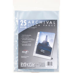 """Print File Premium Series-G Archival Storage Page for Prints, 8x12"""", - 25 Pack"""