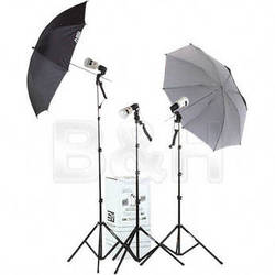 Smith-Victor KF3U 3-Light 135W/s Thrifty Location Kit with Umbrellas (120V)