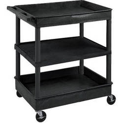 "Luxor TC121 32 x 24"" Three Shelf Heavy-duty Utility Cart (Black)"