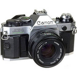 Canon AE-1 Program 35mm SLR Manual Focus Camera (Chrome) with 50mm f/1.8 FD Lens