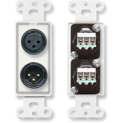 RDL D-XLR2 Decora Wall Plate with XLR 3-Pin Female & 3-Pin Male Connectors (White)