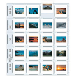 """Print File Archival Storage Page for Slides, 35mm (2x2""""), Holds 20 Slides, Top-Load, Extra Heavyweight (10-Mil), Clear Back (Hanger or Binder) - 100 Pack"""