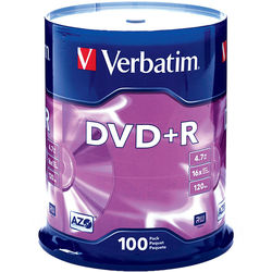 Verbatim DVD+R 4.7GB 16x Disc (100)