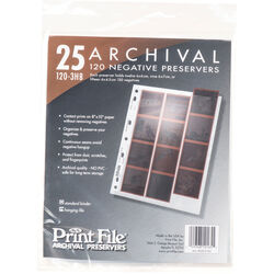 Print File Archival Storage Page for Negatives, 6x6cm - 25 Pack