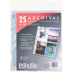 """Print File 45-8P Archival Storage Page for 8 Prints (4 x 5"""", 25-Pack)"""