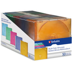 Verbatim CD/DVD Slim Colored Cases (50)