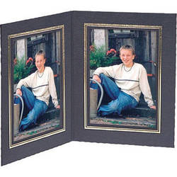 """Collector's Gallery Double View Folder-Classic Style  with Gold Foil Window Border , Model PF5502-57-for 5 x 7"""" Prints (Portrait Format)"""