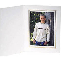 """Collector's Gallery White Classic  Portrait Folder with Gold Foil Border  for 4 x 5"""" Print , Model PF5510-45 (Portrait Format)"""
