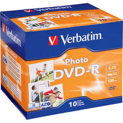 Verbatim DVD-R Recordable Photo Disc in Jewel Case (Pack of 10)