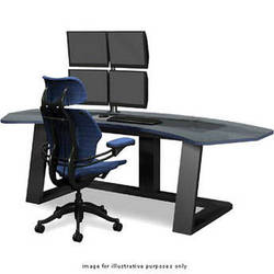 Winsted Digital Desk with Dual LCD Mounts, Model E4656 (Black/Contour Trim)