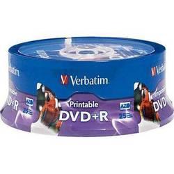 Verbatim DVD+R White Inkjet/Hub Printable Recordable Disc (Spindle Pack of 25)