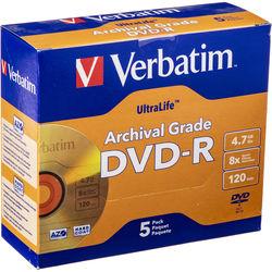 Verbatim DVD-R UltraLife Gold Archival Grade 4.7GB Recordable Disc (Pack of 5)
