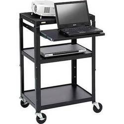 Bretford Adjustable AV Cart with Pull-Out Notebook Shelf (Black)