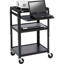 Bretford Adjustable AV Cart with Pull-Out Notebook Shelf (Black)