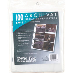 Print File Archival Storage Page for Negatives (Holds 6 Polaroid 665, 100 Pack)