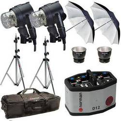 Norman D12 Pack, 2- IL2500 Head/Reflector, Stands, Umbrellas, Case Kit