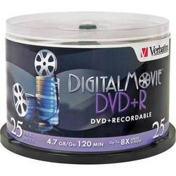 Verbatim DigitalMovie DVD+R 4.7GB 8X Recordable Disc (Spindle Pack of 25)