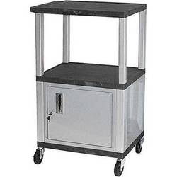 Luxor Multi-Height A/V Cart with 3 Shelves, and 3-Outlet Electrical Assembly, and Cabinet (Black Shelves, Nickel-Colored Legs and Cabinet)