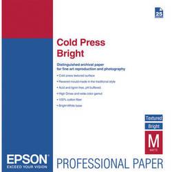 "Epson Cold Press Bright Textured Matte Paper (17 x 22"", 25 Sheets)"