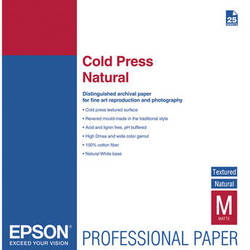 """Epson Cold Press Natural Textured Matte Paper (17 x 22"""", 25 Sheets)"""