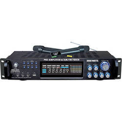 Pyle Pro PWMA3003T Hybrid Stereo Receiver Amplifier with AM/FM Tuner & 2 Wireless Microphones (3000 W, 2 RU)
