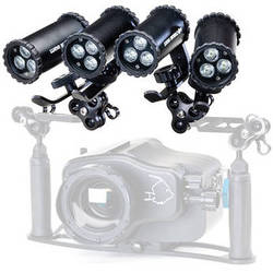 Nocturnal Lights SLX 800i Quad Video Light Package w/ Ball Joint Adapters & Triple Ball Clamps