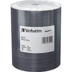 Verbatim CD-R 80 High Speed, Shiny Silver Compact Disc (Spindle Pack of 100)
