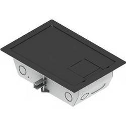 "FSR RFL3-Q1G-SLBLK Carpet Trim Cover- Solid Door- 3.25"" Deep Floor Box (Black)"
