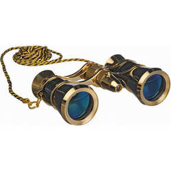 LaScala Optics 3x25 Carmen Opera Glasses with Red LED Flashlight (Black / Gold)