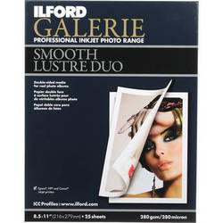 "Ilford 2000363 Galerie Smooth Lustre Duo Paper (280 gsm) 8.5 x 11"" / 25 Sheets"
