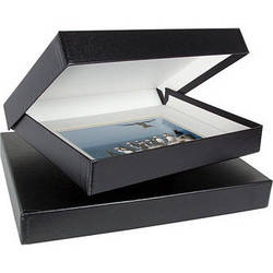 "Archival Methods 8.75 x 11.25 x 1.37"" Onyx Portfolio Box (Black Buckram with White Lining)"