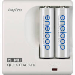 Sanyo Eneloop AA Rechargeable NiMH Batteries w/ MDR02 2-Position Charger (2-Pack)