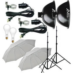 Smith-Victor KT500U 2-Light 500 Watt Thrifty Basic Umbrella Kit (120V)