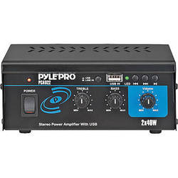 Pyle Pro PCAU22 Mini 40 Watt x 2 Stereo Power Amplifier w/ USB Input