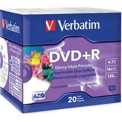 Verbatim DVD+R Glossy White Inkjet Printable Recordable Disc (Slim Case Pack of 20)