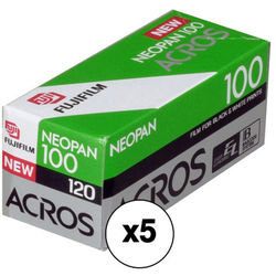 Fujifilm Neopan 100 Acros Black and White Negative Film (120 Roll Film, 5 Pack)