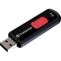 Transcend JetFlash 500 4GB USB 2.0 Flash Drive (Black, Red Slider)
