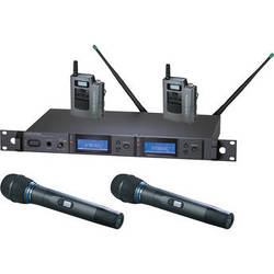 Audio-Technica 5000 Series AEW-5413aC UHF Dual Wireless Bodypack & Handheld Cardioid Condenser Microphone Combo System (Band C)