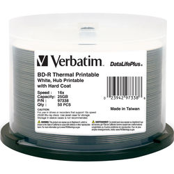 Verbatim 97338 BD-R 25GB 6x DataLifePlus White Thermal, Hub Printable Spindle (50 Pack Spindle)