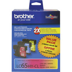 Brother LC65 High Yield Ink Cartridges (3 Pack, Cyan, Magenta, Yellow)