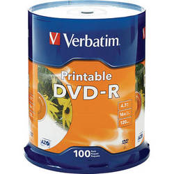 Verbatim DVD-R 4.76GB 16x White Inkjet Printable (100 Pack)