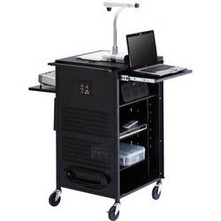 """Bretford TCP23FF-GM Antimicrobial PAL Multimedia Cart With 12-Outlet Electrical Unit (25.5 x 42 x 23.75"""", Gray Mist)"""