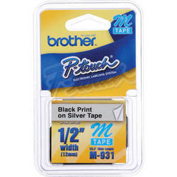 """Brother 0.47"""" Black on Silver """"M"""" Labeling Tape (26.2', One Roll)"""