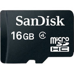 SanDisk 16GB microSDHC Memory Card Class 4 With SD Adapter