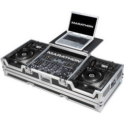 """Marathon MA-CDJ2K19WLT Coffin Case for 2 CD Players and 19"""" Mixer With Laptop Shelf (Black and Chrome)"""