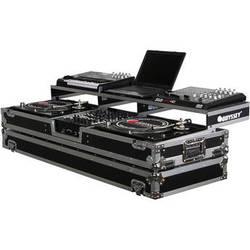 Odyssey Innovative Designs FZGSPDJ12W Remixer Glide Style Series Turntable DJ Coffin (Black/Silver)