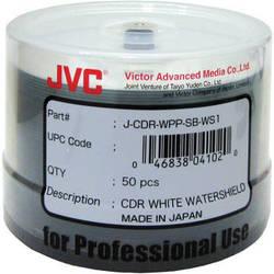 JVC 52x Recordable Inkjet Hub Printable Watershield CD-R (White, 50-Pack Spindle)