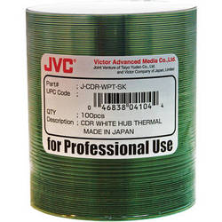 JVC Premium 52x Recordable White Thermal Hub Printable CD-R (100-Pack)