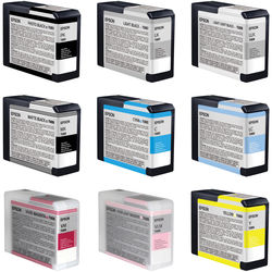 Epson UltraChrome K3 9-Cartridge Ink Set for Stylus Pro 3880 Printer (80 ml)